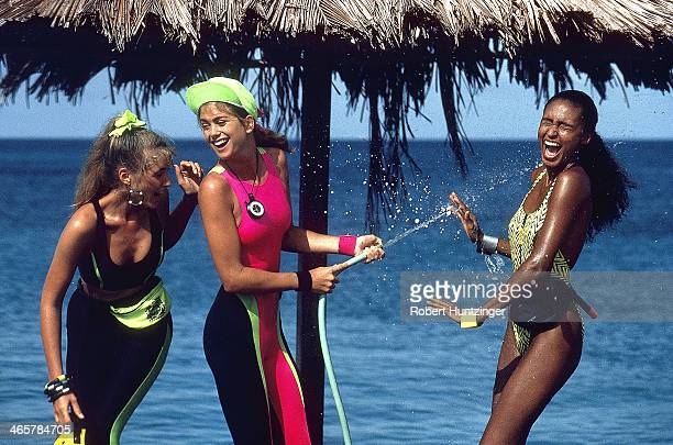 Swimsuit Issue 1990 Models Judit Masco Kathy Ireland and Akure Wall are photographed for the 1990 Sports Illustrated Swimsuit issue on January 19...
