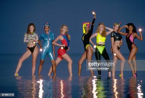Swimsuit Issue 1990: Models Rachel Hunter, Louise Vyent, Michaela Bercu, Anna Getaneh, Maria del Carmen von Hartz, Ashley Richardson, and Akure Wall...