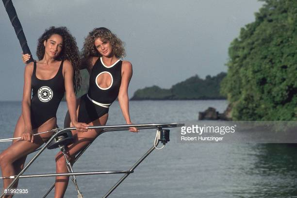 Swimsuit Issue 1990: Models Sabrina Barnett and Rachel Hunter are photographed for the 1990 Sports Illustrated Swimsuit issue on January 19, 1990 on...
