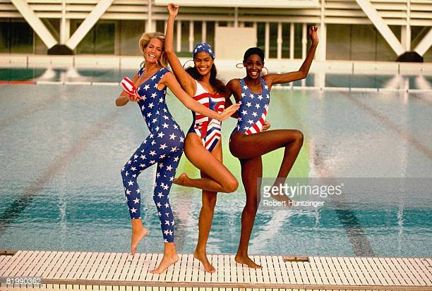 Swimsuit Issue 1992: Model Ashley Montana, Gail O'Neill and Roshumba Williams pose for the 1992 Sports Illustrated Swimsuit issue on November 1, 1991...