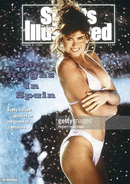 Swimsuit Issue 1992 Model Kathy Ireland poses for the 1992 Sports Illustrated Swimsuit issue on October 1 1991 on Lanzarote Island Spain COVER IMAGE...