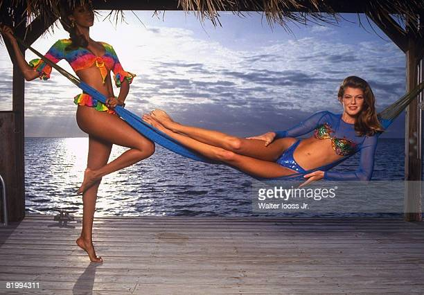 Swimsuit Issue 1993: Models Tyra Banks and Ingrid Seynhaeve poses for the 1993 Sports Illustrated swimsuit issue on December 14, 1992 in the Florida...