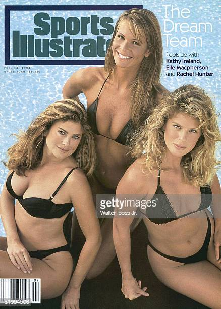 Models Rachel Hunter Kathy Ireland and Elle Macpherson are photographed for 1994 Sports Illustrated Swimsuit issue on February 1 1994 in San Diego...