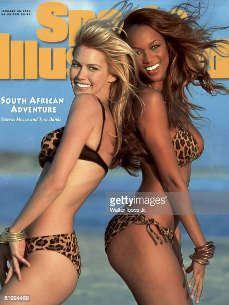 Models Tyra Banks and Valeria Mazza poses for the 1996 Sports Illustrated swimsuit issue on October 1 1995 in South Africa CREDIT MUST READ Walter...