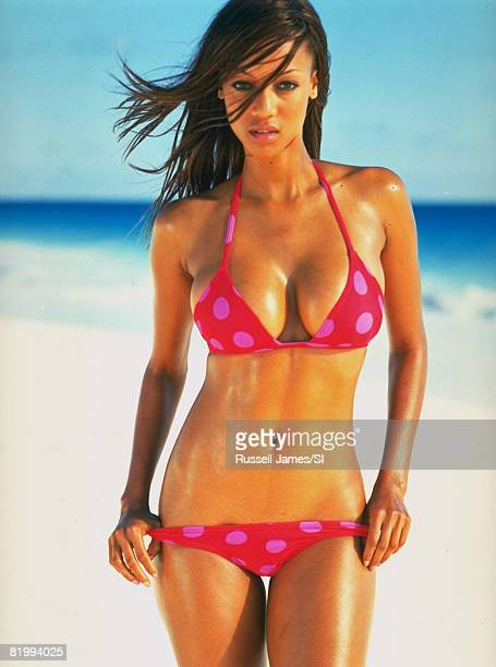 Model Tyra Banks poses for the 1997 Sports Illustrated Swimsuit issue on January 8 1997 in the Bahamas COVER IMAGE CREDIT MUST READ Russell...