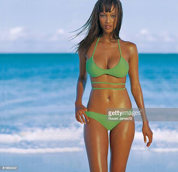 Model Tyra Banks poses for the 1997 Sports Illustrated Swimsuit issue on January 8 1997 in the Bahamas CREDIT MUST READ Russell James/Sports...