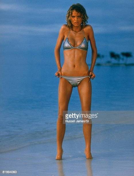 Swimsuit Issue 1998: Model Eva Herzigova poses for the 1998 Sports Illustrated Swimsuit issues on February 1, 1998 in the Maldives. Bikini by Future...