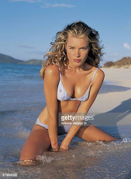 Model Rebecca Romijn poses for the 1999 Sports Illustrated swimsuit issue on February 1 1999 on Necker Island British Virgin Islands PUBLISHED IMAGE...