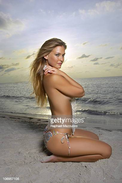 Issue Portrait of Bar Refaeli on beach at The Caves Bikini bottom by Vitamin A by Amahlia Stevens Negril Jamaica CREDIT MUST READ Raphael...