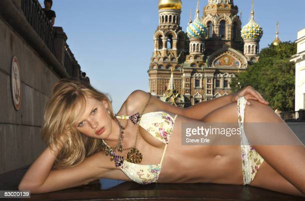 Swimsuit Issue 2008 Model Anne V poses for the 2008 Sports Illustrated Swimsuit issue on August 10 2007 in Saint Petersburg Russia Bikini by Becca by...