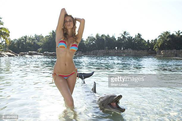 Swimsuit Issue 2008 Model Julie Henderson poses with dolphin for the 2008 Sports Illustrated Swimsuit issue at Discovery Cove on November 15 2007 in...