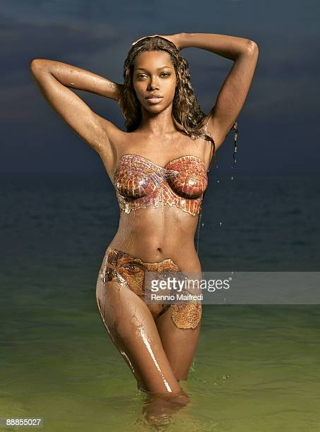 Model Jessica White is photographed for Swimsuit Issue 2009 Bodypainting Published image X80634 take 4 CREDIT MUST READ Rennio Maifredi/Sports...