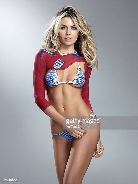 Swimsuit 2010 Issue Portrait of Abigail Clancy girlfriend of England soccer player Peter Crouch during photo shoot Body painting by Joanne Gair New...