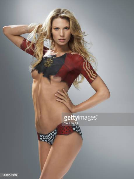 Swimsuit 2010 Issue Portrait of Sarah Brandner girlfriend of Germany soccer player Bastian Schweinsteiger during photo shoot Body painting by Joanne...