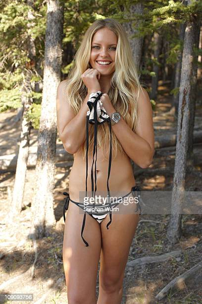 Australian surfer Bruna Schmitz poses for the 2011 Sports Illustrated Swimsuit issue on July 26 2010 in Banff Alberta Canada PUBLISHED IMAGE CREDIT...