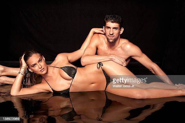Swimsuit Issue 2012 Model Bar Refaeli poses with swimmer Michael Phelps for the 2012 Sports Illustrated Swimsuit issue on November 29 2011 in New...