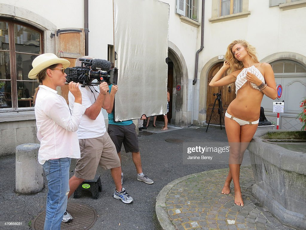 Behind the scenes of the 2014 Sports Illustrated Swimsuit issue are photographed on December 17, 2013 in Montreux, Switzerland. Pictured model Kate Bock.