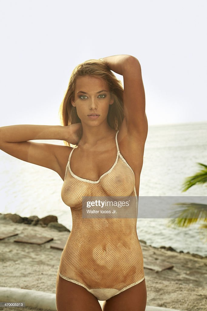 Model Hannah Ferguson poses for the 2014 Sports Illustrated Swimsuit issue on December 6, 2013, on Saint Lucia. Body painting by Joanne Gair. PUBLISHED IMAGE.