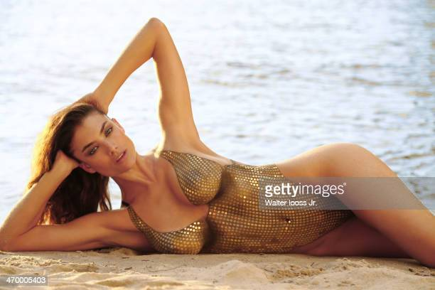Swimsuit Issue 2014 Model Lauren Mellor poses for the 2014 Sports Illustrated Swimsuit issue on December 5 on Saint Lucia Body painting by Joanne...