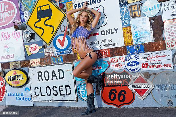 Swimsuit Issue 2015 Model Hannah Ferguson poses for the 2015 Sports Illustrated Swimsuit issue on May 19 2014 outside of Route 66 Diner in...
