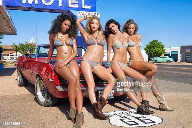 Swimsuit Issue 2015: Models Ariel Meredith, Ashley Smith, Sara Sampaio and Hannah Ferguson pose for the 2015 Sports Illustrated Swimsuit issue on May...