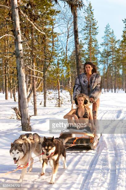 Models Hailey Clauson and Bo Krsmanovic pose for the 2017 Sports Illustrated swimsuit issue on April 21 2016 in Lapland Finland PUBLISHED IMAGE...