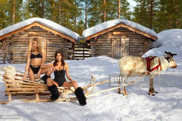 Models Hailey Clauson and Bo Krsmanovic pose for the 2017 Sports Illustrated swimsuit issue on April 22 2016 in Lapland Finland PUBLISHED IMAGE...