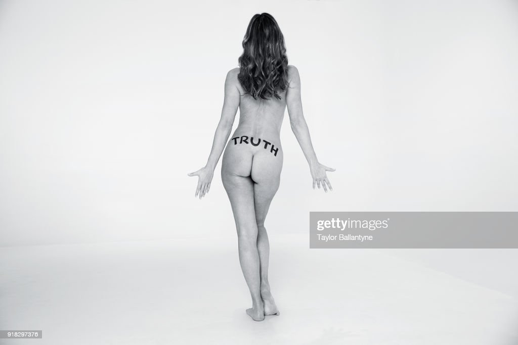 Model Paulina Porizkova poses for the 2018 Sports Illustrated swimsuit issue 'In Her Own Words' body painting on December 18, 2017 at the Foundry in Brooklyn, New York. PUBLISHED IMAGE.