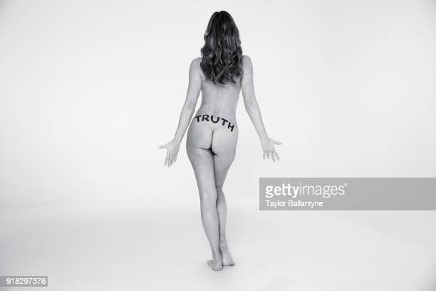Model Paulina Porizkova poses for the 2018 Sports Illustrated swimsuit issue 'In Her Own Words' body painting on December 18 2017 at the Foundry in...