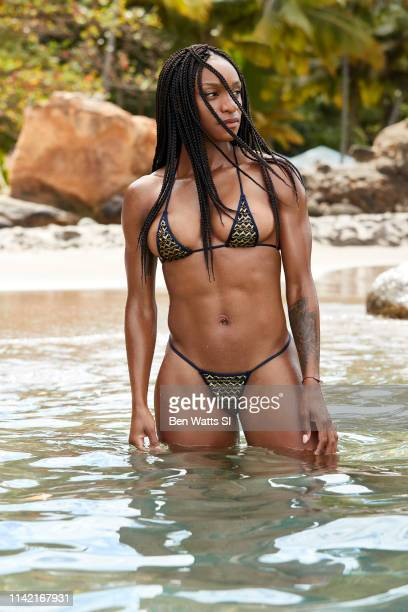 Swimsuit Issue 2019 Soccer player Crystal Dunn poses for the 2019 Sports Illustrated swimsuit issue on March 14 2019 in Saint Lucia PUBLISHED IMAGE...