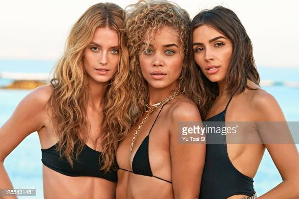 Swimsuit Issue 2020: Models Kate Bock, Jasmine Sanders and Olivia Culpo pose for the 2020 Sports Illustrated swimsuit issue on November 4, 2019 in...