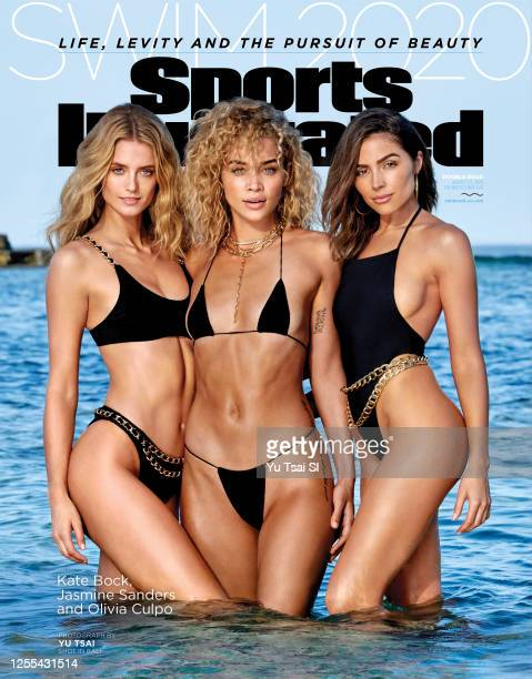 Swimsuit Issue 2020 Models Kate Bock Jasmine Sanders and Olivia Culpo pose for the 2020 Sports Illustrated swimsuit issue on November 4 2019 in...