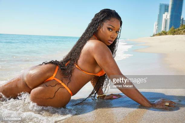 Swimsuit Issue 2021: Rapper Megan Thee Stallion poses for the 2021 Sports Illustrated swimsuit issue on April 13, 2021 in Hollywood, Florida....