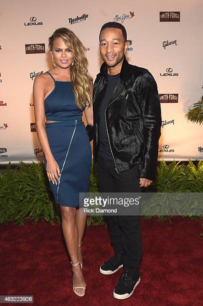 Swimsuit model Chrissy Teigen and musician John Legend attend the Sports Illustrated 2015 Swimsuit Takes Over Nashville With Kings of Leon event on...