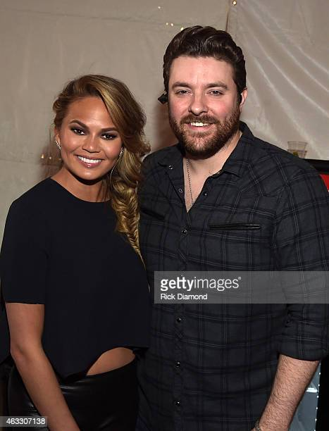 Swimsuit Model Chrissy Teigen and Singer/Songwriter Chris Young attend the 2015 Sports Illustrated Swimsuit's Swimville Takes Over Nashville Day 2 on...