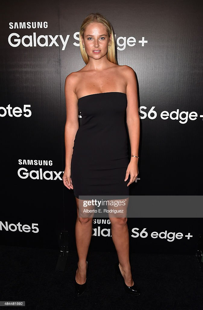 Swimsuit model Genevieve Morton attends the Samsung Galaxy S6 Edge Plus and Note 5 Launch party on August 18, 2015 in West Hollywood, California.