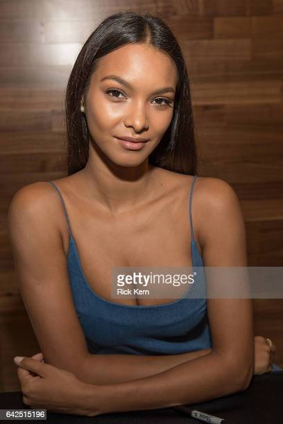 Swimsuit model Lais Ribeiro signs autographs during the VIBES by Sports Illustrated Swimsuit 2017 launch festival on February 17 2017 in Houston Texas