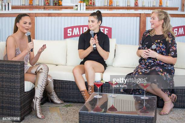Swimsuit models Chrissy Teigen Aly Raisman and SI Swimsuit editor MJ Day talk during a panel at the VIBES by Sports Illustrated Swimsuit 2017 launch...