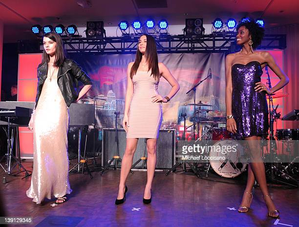SI swimsuit models Crystal Renn Jessica Gomes and Adaora onstage at Club SI Swimsuit hosted by the Pure Nightclub at Caesars Palace at the Pure...