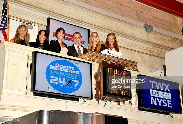 2011 SI Swimsuit Models Kenza Fourati Jessica Gomes Esti Ginzburg Shannan Click and Cintia Dicker with Mark Ford President of Time Inc Sports Group...