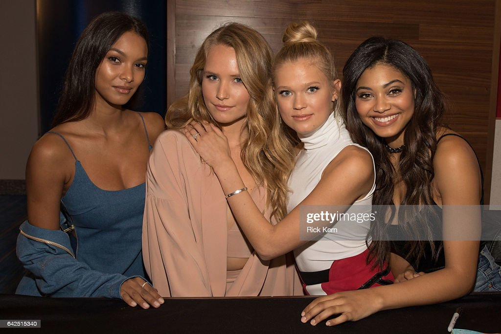 SI Swimsuit models Lais Ribeiro, Sailor Brinkley Cook, Vita Sidorkina, and Danielle Herrington sign autographs during the VIBES by Sports Illustrated Swimsuit 2017 launch festival on February 17, 2017 in Houston, Texas.