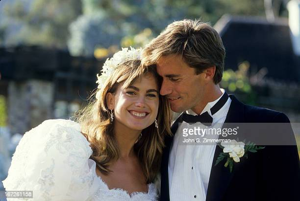 Portrait of Sports Illustrated via Getty Images swimsuit model Kathy Ireland with husband Dr Greg Olsen on wedding day San Diego CA CREDIT John G...