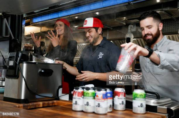 1d1ca99c8b0 Swimsuit Robyn Lawley participates in a cooking demonstration with 8th  Wonder Brewery s Ryan Soroka and The