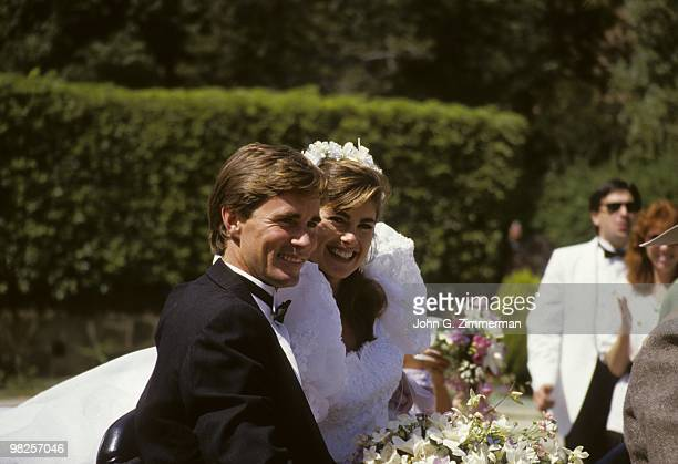 View of model Kathy Ireland and Dr Greg Olsen during wedding celebration San Diego CA 8/21/1988 CREDIT John G Zimmerman