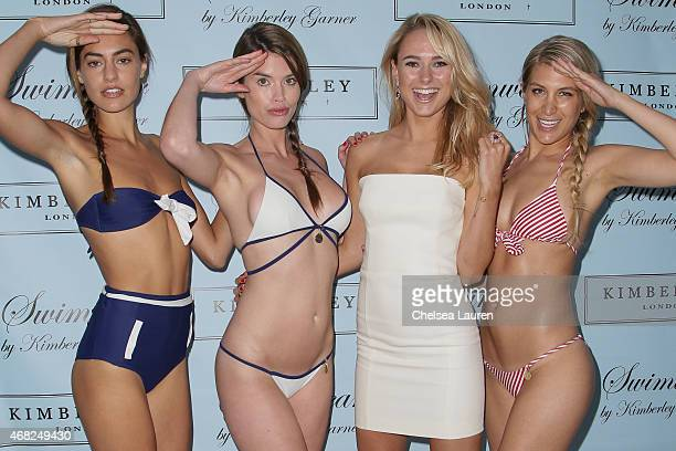 Swimwear designer Kimberley Garner arrives at the launch party for her swimsuit line at The London on March 31 2015 in West Hollywood California