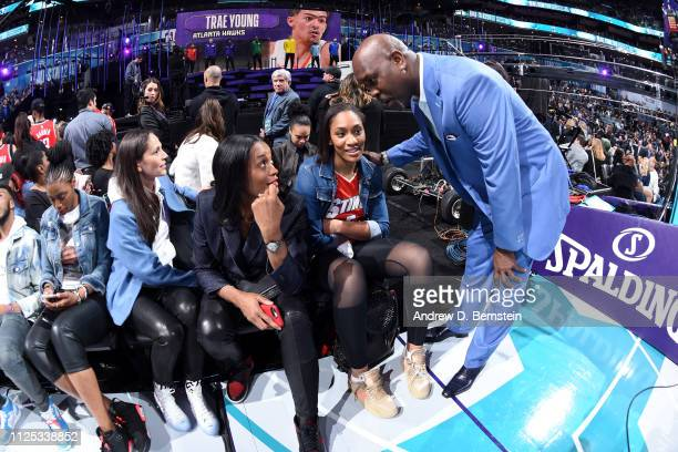 Swin Cash and A'ja Wilson talk to Gary Payton during the 2019 Taco Bell Skills Challenge as part of the State Farm AllStar Saturday Night on February...