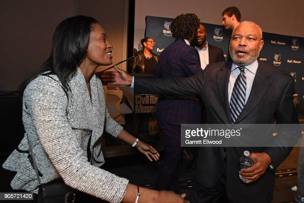 Swin Cash and Bernie Bickerstaff participate in MLK Sports Legacy Award and a tour of the National Civil Rights Museum on January 14 2018 at the...