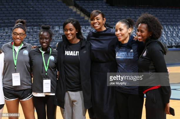 Swin Cash and Tina Thompson and Allison Feaster participates during the Memphis Grizzlies first annual Girl's Summit on March 30 2017 at FedExForum...