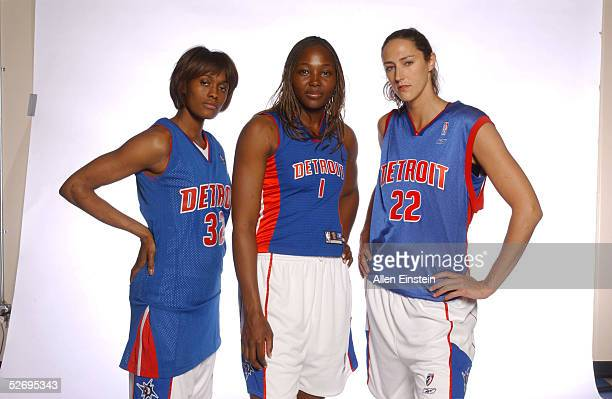 Swin Cash Cheryl Ford and Ruth Riley of the Detroit Shock pose during Detroit Shock Media Day April 25 2005 at the Palace of Auburn Hills in Auburn...