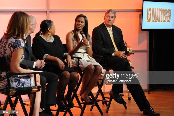 Swin Cash of the Chicago Sky and Head Coach Bill Laimbeer of the New York Liberty speak during the announcement of their partnership extension at the...